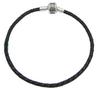 """Leather and Sterling Silver """"Key West"""" Clasp Bead Bracelet"""