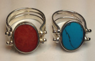 Happy Hour Ring - Small Oval (Blue / Coral)