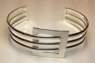 Silver Plated Square Fashion Cuff Bracelet