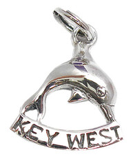 "Dolphin ""Key West"" Charm. Sterling Silver."