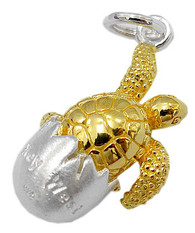 """Key West"" Turtle Hatching from Egg Charm. Sterling Silver and Gold Vermeil."