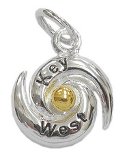 "Hurricance ""Key West"" Charm. Sterling Silver and Gold Vermeil."
