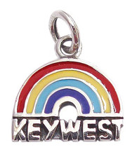 "Rainbow ""Key West"" Pride Charm. Sterling Silver."