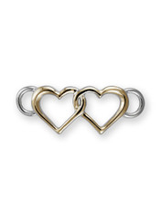 Sterling Silver Double Heart Clasp with 14K Gold Accent.