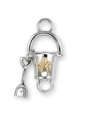 Sterling Silver Shovel and Pail Clasp with 14K Gold Accent. - SPECIAL ORDER