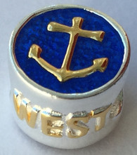 Anchor and Ships Wheel Key West Bead in Gold/Enamel