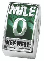 Mile 0 Green Enamel Bead