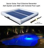 Savior Salt System Pool Chlorine Generator and SMD LED RGB Light 60-watt Solar Powered 25000 Gallon