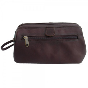 Piel Shaving Bag - Deluxe Top Frame, Chocolate