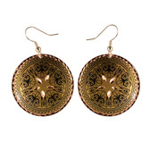 CE22001 Scrollwork-Tracing Floral (Round- Gold Background w/ Black Design)  Paykoc Copper Earrings