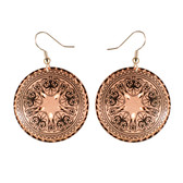 CE22002 Scrollwork-Tracing Floral (Round- Copper Background w/ Black Design) Paykoc Copper Earrings