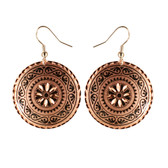 CE20003 Starbust/Scroll Border (Round- Gold Background w/ Black Design) Paykoc Copper Earrings