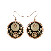 CE30002 Fleur-de-Lis (Round- Black Flower & Fleur-de-Lis design on Border) Paykoc Copper Earrings