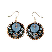 CE30003 Fleur-de-Lis (Round- Black Flower & Fleur-de-Lis design on Border) Paykoc Copper Earrings