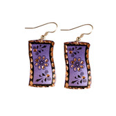 CE40007 Swirling Flower (Wavy Rectangle- Purple Background w/ Black Design) Paykoc Copper Earrings