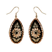 CE43002 Cornflower (Teardrop- Black Background w/ Copper Design) Paykoc Copper Earrings
