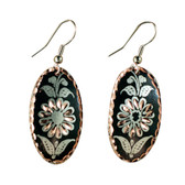 CE43003 Cornflower (Teardrop- Black Background w/ Copper Design) Paykoc Copper Earrings