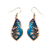CE43005 Cornflower (Asymmetrical- Blue Background w/ Copper Design) Paykoc Copper Earrings