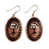 CE45000 Tree (Oval- Copper OR Silver Background w/ Black Design) Paykoc Copper Earrings