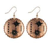 CE50003 Turtle (Round- Copper Background w/ Black Design) Paykoc Copper Earrings