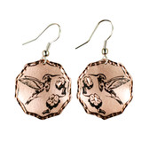 CE61000 Hummingbird perched on flowers (Octagon-Copper Background w/ Black Design) Paykoc Copper Earrings