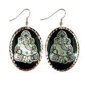 CE70000 Ganesha (Black Background w/ Silver Design) Paykoc Copper Earrings