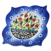Nimet Lead-Free Deluxe Turkish Porcelain Square Plate 25cm by Paykoc N82025 Blue