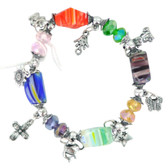Evil Eye Elastic Charm Bracelet - Transparent Flower Glass Ornament