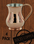 4 Pack - 13.5 oz Solid Copper Tin Lined Moscow Mule Kettle Mug