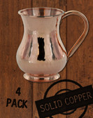 4 Pack - 13.5 oz Hammered, Solid Copper Moscow Mule Kettle Mugs