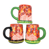 Handmade Nimet Porcelain Beer Steins (Orange/Assorted Patterns)