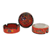 Traditional Turkish Nimet Porcelain Ashtray 8cm Orange