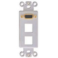 2 Port Keystone Decorator Plate with VGA Pass Thru