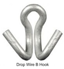B Drop Wire Hook rams Horn Galvanized Steel 666