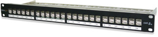 """24458S-C5E 24-Port Category 5e Screened Patch Panel, T568A/B Wiring, 1.75"""" High"""