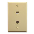 Telephone Dual Flush Mount Plate with 6P4C Jack