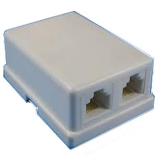Modular Dual Telephone Surface Mount Jack 6P4C