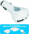 USB 2 Port Car Charger 2.1 Amp with Retractable Apple Sync Cable