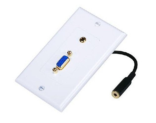 VGA with 3.5mm Stereo Audio Wall Plate Gold Plated