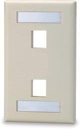 2 Port Single Gang Face Plate with Labeling Windows