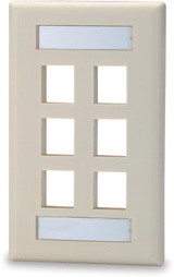 6 Port Single Gang Face Plate with Labeling Windows