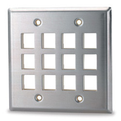 12 Port Stainless Steel Double Gang Wall Plate