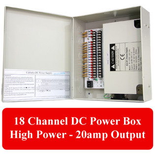 18 Channel CCTV HIgh Power Distribution Box 12VDC 20 Amp