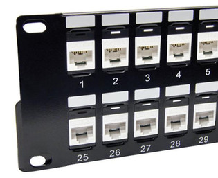 48 Port Cat 6A 2U Snap In Jack Patch Panel