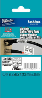 Brother TZE-FX231 1/2 In. Black on White Flexible P-touch Tape