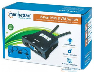 2 Port Mini KVM Switch with Cables
