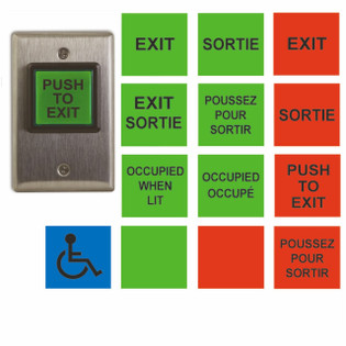 Illuminated Push To Exit Button Access Control English and French CM-30C