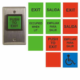 Illuminated Push To Exit Button Access Control English and Spanish CM-30U