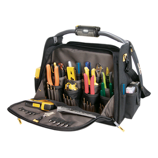 "Tech Gear LED Lighted Handle 18"" Dual Compartment Tool Carrier"