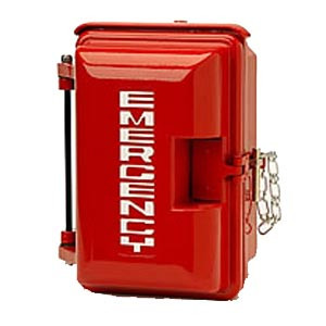 Cast aluminum weatherproof enclosure with EMERGENCY on door red 331-005-R